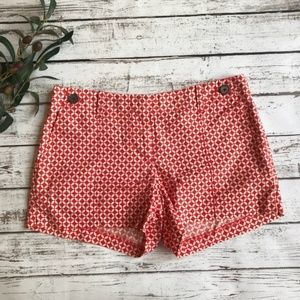 J CREW City Fit Red Patterned Shorts